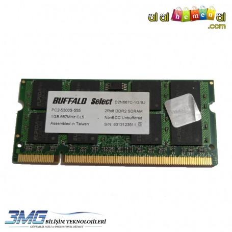 BUFFALO DDR2 1GB 2Rx8 PC2-5300S-555 Notebook Ram (2.El Ürün)