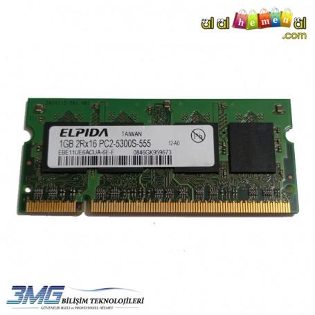 ELPIDA DDR2 1GB 2Rx16 PC2-5300S-555-12-A0 Notebook Ram (2.El Ürün)