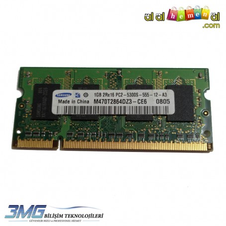 Samsung DDR2 1GB 2Rx16 PC2-5300S-555-12-A3 Notebook Ram (2.El Ürün)
